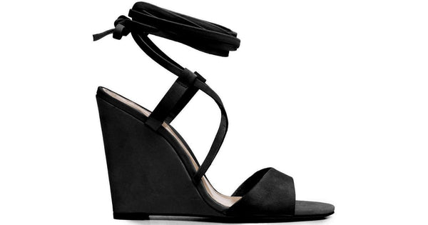 Schutz Fablo Black Single Sole Wedge Heel Tie-Around Ankle Open Toe Sandals