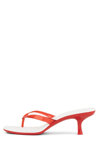 Jeffrey Campbell Women's Thong 2 Slide Sandal In Red Kitten Heel Sandals