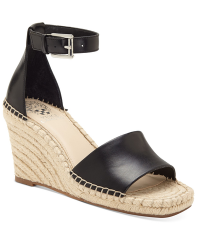 Vince Camuto Women's Maaza Wedge Leather Espadrille Ankle Strap Sandals BLACK