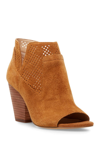 Steve Madden Women's Ready Perforated Stack Heel Bootie CHSNUT SUE