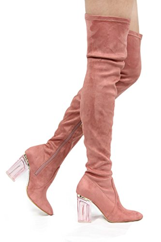 Cape Robbin Fay-2 Over The Knee Stretch Glass Heel Thigh High Boots (5.5, Red/Mauve)