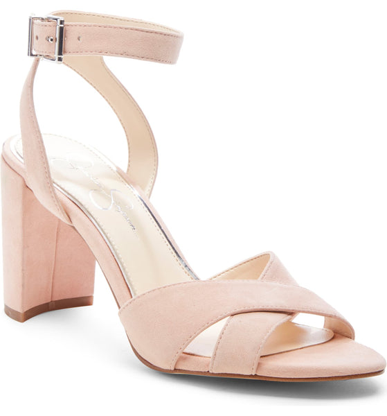 Jessica Simpson Niara Nude Blush Cross-Band Open-Toe Block Heel Sandals