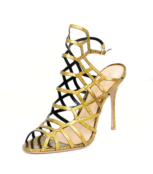 Schutz Juliana Gold Glitter Patent Caged Pumps Sandals