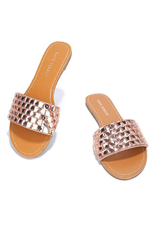 Cape Robbin CRYSTAL COVE FAUX JEWEL BAND FLAT SLIP ON SLIDE SANDAL-ROSEGOLD