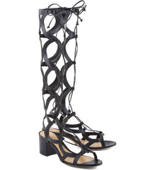 Schutz Perlie Black Leather Knee High Tie Up Low Heel Gladiator Sandal