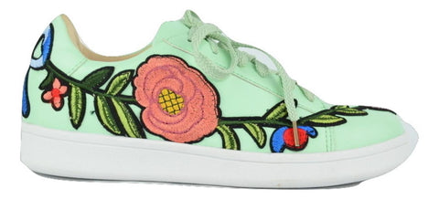 Chase & Chloe CELINE-1 Lace Up Patch Sneaker Mint Green Flower Side Lace Up