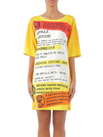 MOSCHINO Women's Oversized Printed Jersey T-shirt Dress Yellow A040141341063