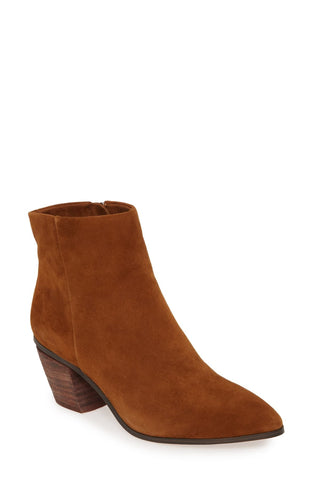 Vince Camuto Grasem Vintage Brown Pointed Toe Western Boot Ankle Bootie