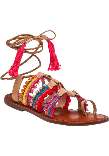 Schutz Patricia Multi Color Leather Gladiator Ankle Wrap Flat Mule Sandals