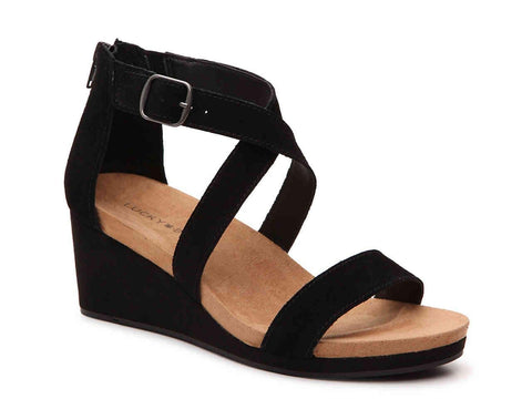 Lucky Brand Women's Kenadee Suede Wedge Ankle Strap Sandal Black