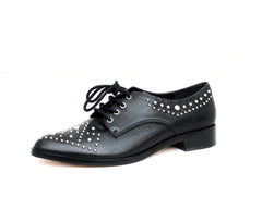 Schutz Camily Black Leather Silver Metal Almond toe Oxford Flats