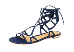 Schutz Zimi Night Blue Crystal Gladiator Lace Up Ankle Sandals