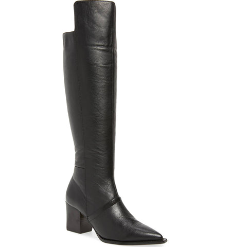 Lust For Life Tania Knee High Boot Black Leather Dress Over Knee Pointed Boot