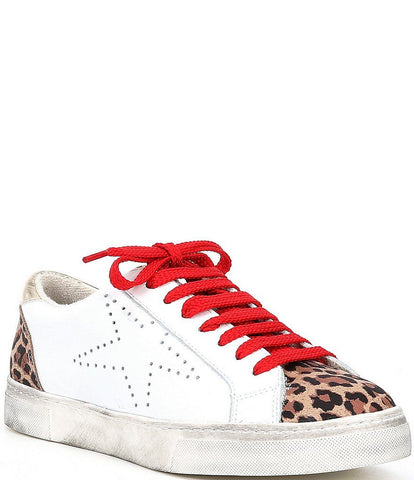 Steve Madden Women's Rezza Leather Distressed Sneakers WHITE LEOPARD