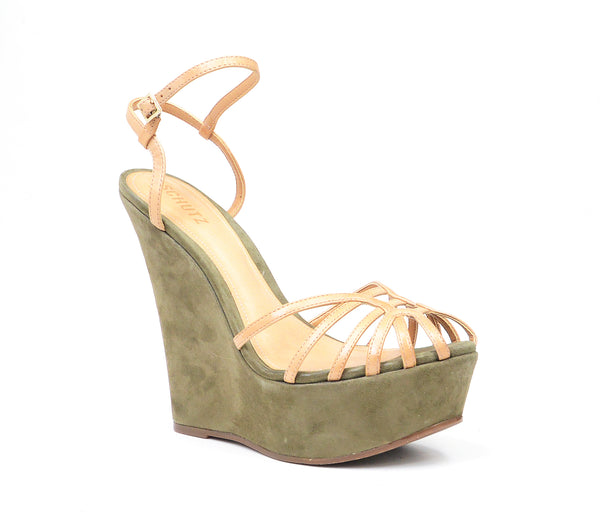 Schutz Womens Priscilla Soft Green Suede Wrapped Platform Heels Sandals