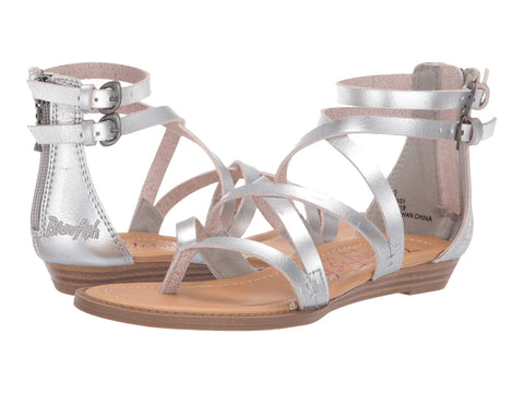 Blowfish Malibu Billa K Crisscrossed Strap Sandals Pearl Silver Dyecut PU