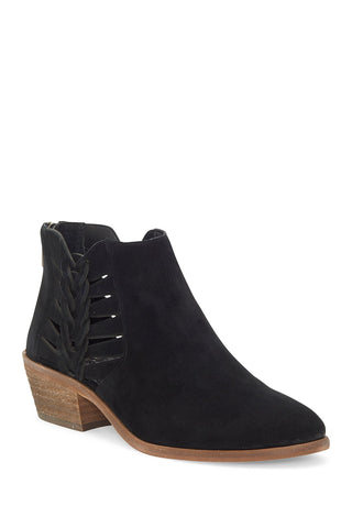 Vince Camuto PRESTETTA Black Pointed Toe Suede Cutout Side Ankle Boots