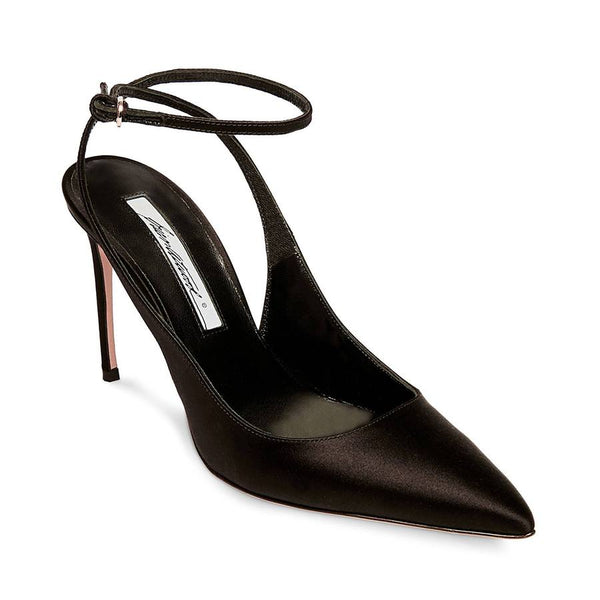 Brian Atwood VICKY Black Satin High Heel Pointed Toe Sing;le Sole Dress Pumps