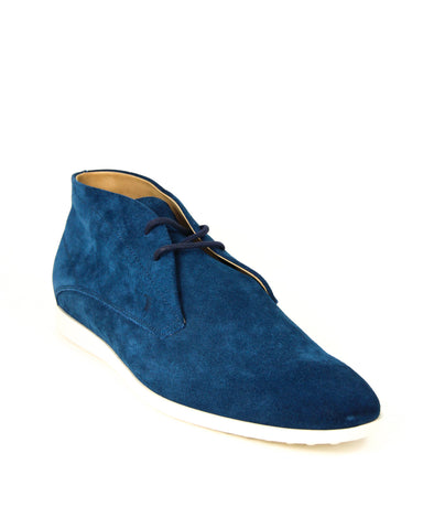 Tod's Men's Polacco Suede Leather Lace Up Oxfords Shoes, PERSIA Blue Suede