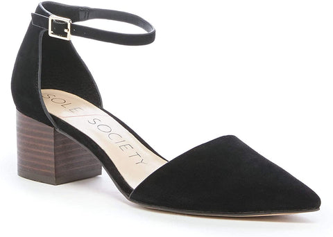 Sole Society Katarina Block Heel Ankle Strap Black Suede Pointed Toe Pump