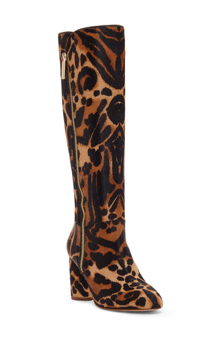 Louise Et Cie Women's Zenia Genuine Calf Hair Knee High Boot ZEOPARD/BLACK