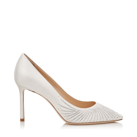 Jimmy Choo White Romy 85 Ivory Satin Pointy Bridal Pumps Crystals Ivory/crystal