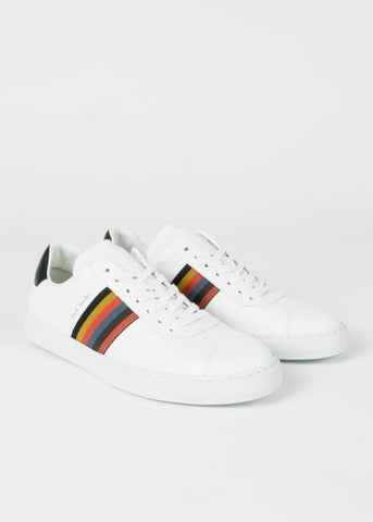 PAUL SMITH Men's White 'Bright Stripe' Leather 'Levon' Trainers Lace Up Sneaker