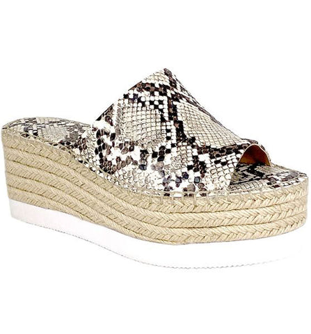 Charles David Sporty Espadrille Wedges OFF WHITE Snake PLatform Open Toe Mules