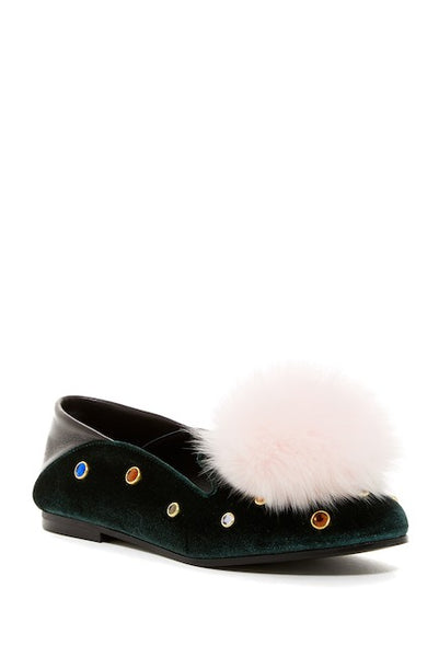 Ivy Kirzhner Musical Embellished Velvet Loafer hunter