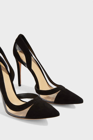 ALEXANDRE BIRMAN Wavee 100 Black Suede Pumps Clear Pointed Toe Stiletto