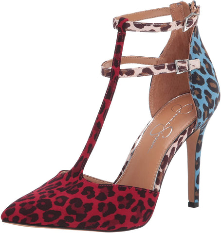 Jessica Simpson Pyllah Caliente Leopard Multi Print Pointred T-Strap Pumps