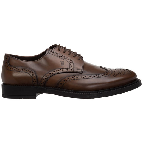 Tod's Men's DERBY Oxfords  BROWN Leather Lace Up Wingtip