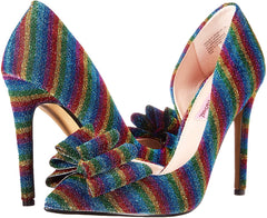 Betsey Johnson Women's Prince-P Pointed Toe Pump Rainbow Glitter High Stiletto