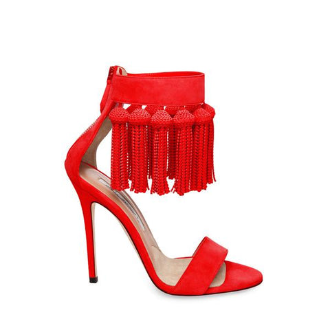 Brian Atwood Pepper Red Suede Dangling Fringe Open Toe High Heel Sandals