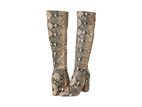 Steve Madden Limo Snake Block Knee High Fashion Boot Natural Multi