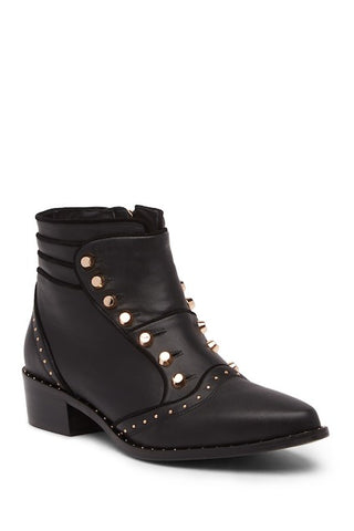 Ivy Kirzhner Soldier Black Italalian Leather Studded Ankle Bootie