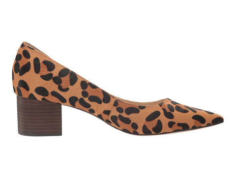 Sole Society Andorra Tan Black Leopard Block Heel Pointed Toe Dress Pumps