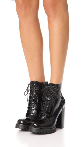 JEFFREY CAMPBELL Legion Black Box Leather Lace Up High Heel Lug Sole Ankle Boot