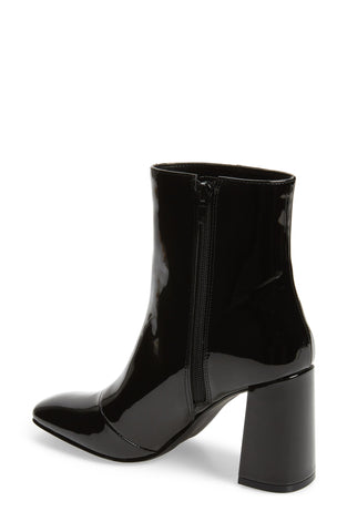Steve Madden Taryn Square Toe Side-zipper Boots Black Patent Leather Bootie