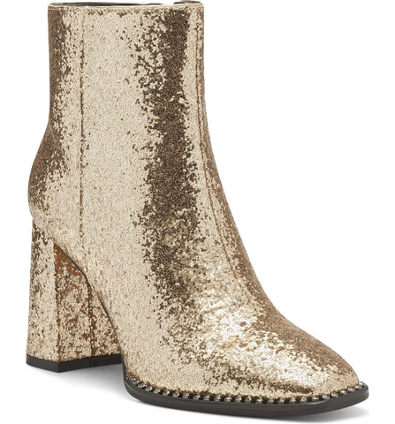 Jessica Simpson Silvya Gold Glitter Block Heel Disco Square Toe Ankle Booties