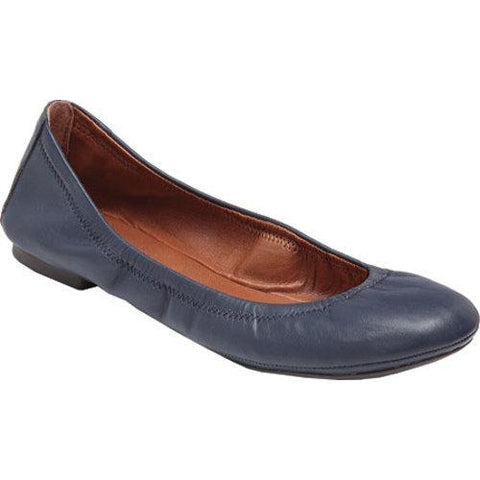 Lucky Brand Emmie Leather Ballet Flats Shoes AMERICAN NAVY