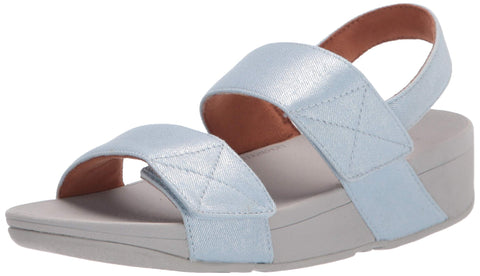 FitFlop Women's Wedge Sandal Mina Light Blue Wedge Mule Sandals