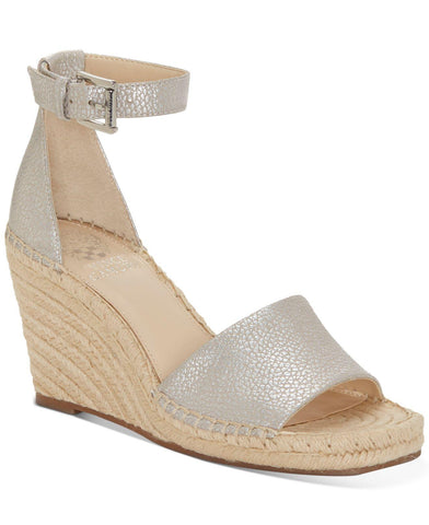 Vince Camuto Maaza Wedge Leather Espadrille Ankle Strap Sandals METAL SILVER