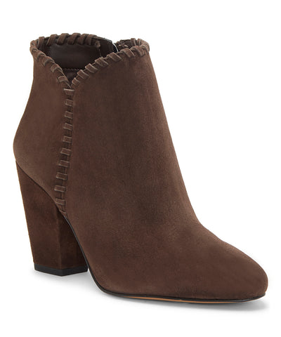 1.State MYLO Chocolate Brown Suede Block Heel Round Toe Designer Ankle Booties