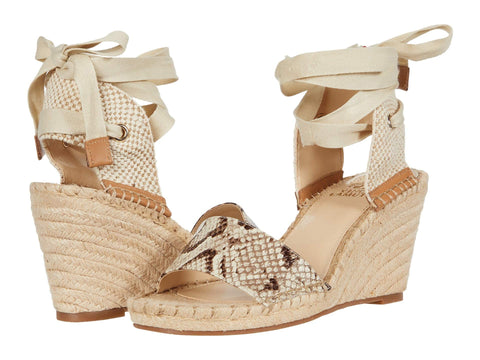 Vince Camuto Levernta Snake Print Leather Espadrille Sandals OATMEAL MULTI
