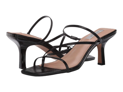 Steve Madden Women's Talie Strappy Open toe Heeled Sandal BLACK CROC