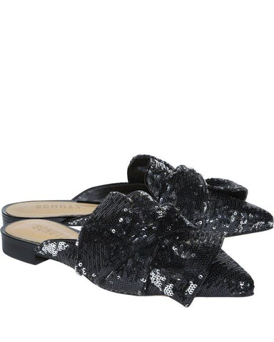 Schutz Women's Black D'ana Dana Preto Prata Sequin Pointed Toe Flat Mule Slide