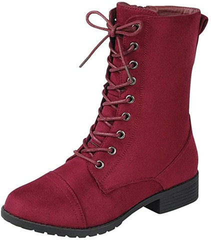 Forever Link Jalen-88 Burgundy Round Toe Military Lace up Combat Boots