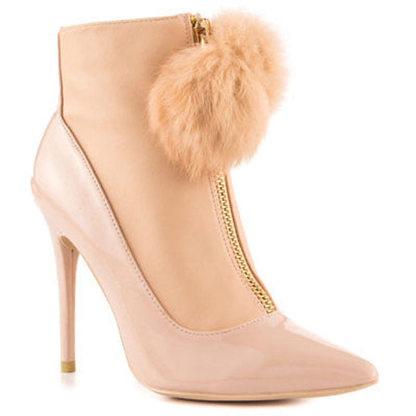 Privileged Queda  Patent Pointed Toe Fur Gold zipper Booties-Beige Nude