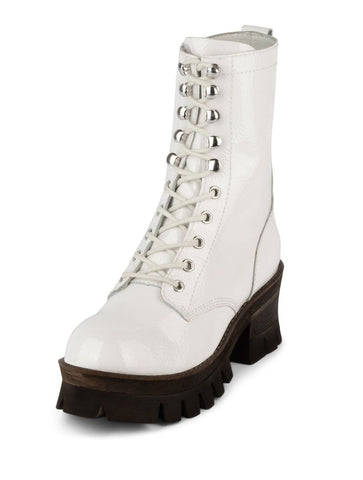 Jeffrey Campbell Sycamore Lace-up Boots WHITE CRINKLE PATENT Platform Boots